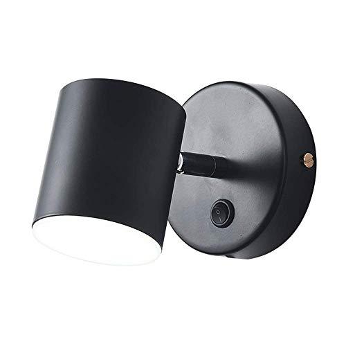 WEM Lámparas de pared, lámpara de pared LED de 6 W con cable, lámpara de montaje en pared de metal con interruptor, accesorios de iluminación de pared interior para sala de estar, dormitorio, pasillo