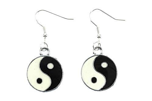 Miniblings Yin Yang Ying y Yang pendientes esmaltados opuestos Yoga - joyería hecha a mano de manera I pendientes pendientes de plata