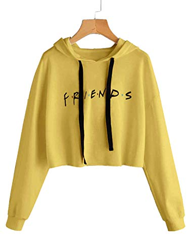 ALAPUSA Long Sleeve Sweatshirt for Women/Girls Letters Printed Hoodie Casual Pullover Yellow Medium