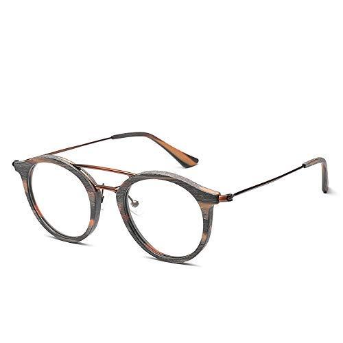 Yeeseu Gafas de sol de los vidrios Capítulo for la vendimia clásico hombres y de mujeres de moda ronda del grano de madera de los vidrios gafas de moda (Color: 01Gray, Tamaño: Libre) Ciclismo, Correr,
