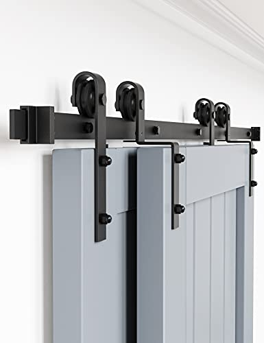 """WINSOON 5FT Single Track Bypass Barn Door Hardware Double Doors Kit, Heavy Duty Sliding One Track Antique Roller for Cabinet Closet Fit Double 30"""" Wide Door"""