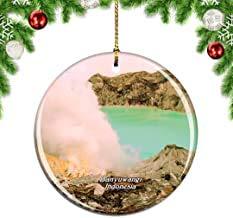 Kysd43Mill Indonesia Gunung Ijen Banyuwangi Java Árbol de Navidad decoración para Colgar Adornos, Adornos de Navidad de cerámica, Decoraciones de Navidad
