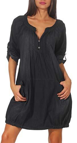 Malito Damen Jeanskleid | Maxikleid mit Taschen | schickes Freizeitkleid - Kostüm 6255 (dunkelgrau)
