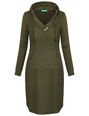 Kimmery Long Sleeve Knee Length Sweatshirt Hoodie Dress with Kangaroo Pocket