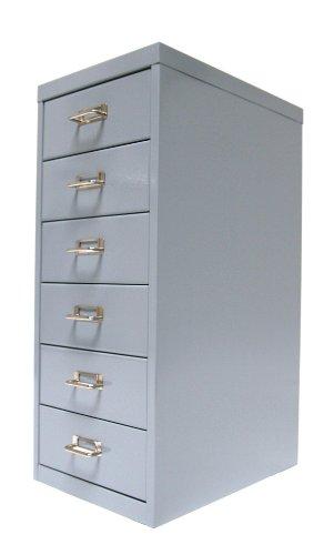 Schubladenschrank/Schubladen-Container HxBxT: 66x28x40cm mit 6 Schubladen aus Metall, silbergrau Marke: Szagato (Büroschrank, Werkzeugschrank, Werkstattschrank, Aufbewahrungsschrank, Schubladen-Box)