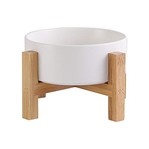 Weiß Futternapf Katze Fressnapf Katze Katzennapf Erhöht mit Napf Ständer Holz und Rutschfesten Füßen - Hundenapf Keramik für Katzen Hunde Welpe Futter und Wass 400ML
