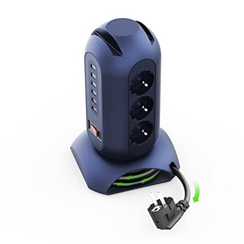 SAFEMORE Regleta de 9 enchufes (2500 W/10 A), 6 enchufes USB (3,4 A) con protección de 900 J contra sobretensiones y sobrecarga, 1,8 m, cable retráctil y soporte para teléfono para oficina