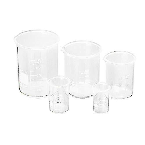 Loriver 5Pcs 5 10 25 50 100ml Laborglasbecher-Set Labor Messglas-Set