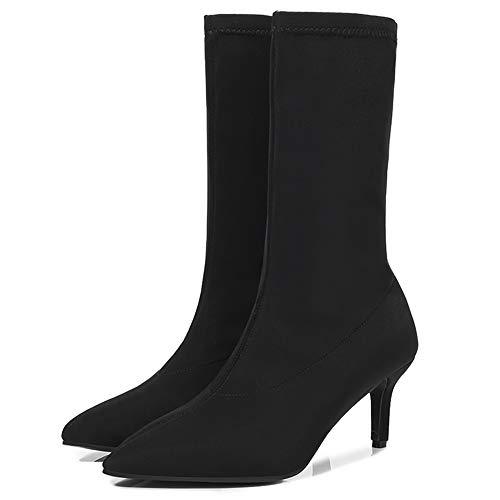 Yhjmdp Botas calcetín Tobillo tacón Fino Botines elásticos Puntiagudos Zapatos de Mujer Sexy Fiesta señoras Botas Confort,Negro,42 ⭐