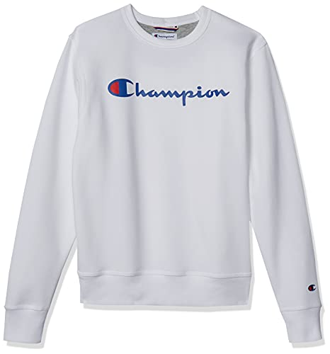 Champion Men's Powerblend Fleece Crew, Script Logo, White-Y06794, X-Large