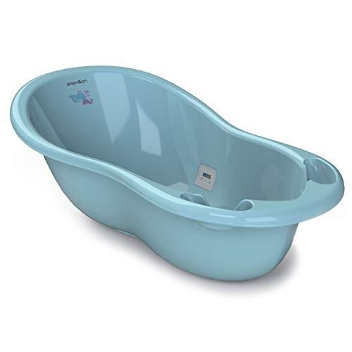 BABYLON bañeras para bebes Shuttle - Bañera para bebé con termómetro y tapón (0-36 meses), color azul