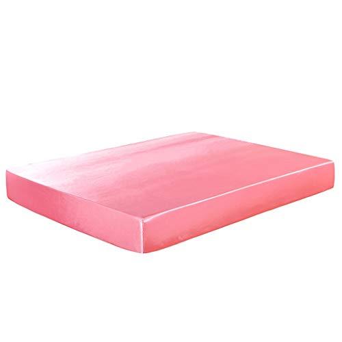 YUDIZWS Protector De Colchón Mash con Bolsillo Ajustable hasta 30 Cm Cubrecolchón Impermeable Cubre Colchón 100% Tencel Hipoalergénico & Anti-Ácaros (Color : Pink, Size : 198x203+30cm)