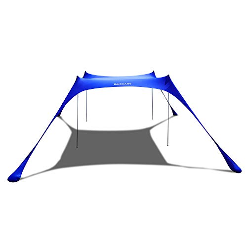 KAZZARY Beach Tent Canopy - Sun Shade Pop Up-Outdoor Backyard UPF50 UV Protection Lightweight, 4 Tall Aluminum Poles Portable & Flexible Family Shelter Tarp (Bright Blue, 10 x 10 ft. 4 Poles)