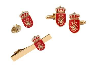 Gemelolandia |Pack Completo Academia General Militar de Zaragoza 20x10mm | Pack contiene: 1 pasador, 1 par Gemelos y 1 Pin | Pack de color plateado