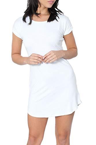 Re Tech UK - Damen T-Shirt-Kleid - figurbetont & hüftlang - geschwungener Saum - Stretchmaterial - Weiß - 34-36