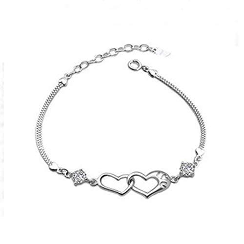 Armband Damen Herz 925Er Silber Schmuck Doppelt Herz Liebe Handgefertigt Einstellbar,Silber