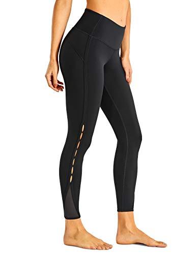 CRZ YOGA Femme Legging de Sport Pantalons Fitness Taille Haute en Tissu Léger avec Poche-63cm Noir New-R422 36