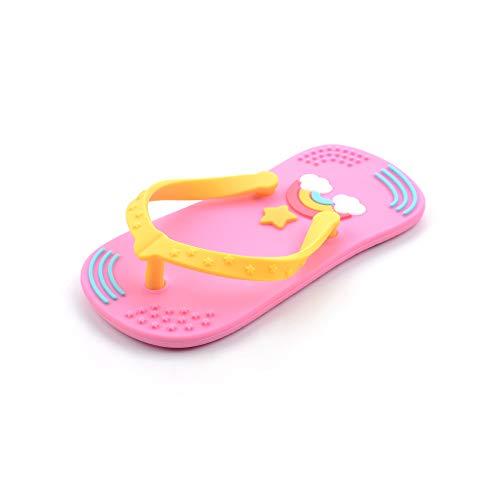 Beißring aus Silikon mit Zahnbürste, Spielzeug zum Draufrumkauen für Babys, 3 Verschiedenen Farben Erhältlich, Ohne BPA von MilkMama (Rosa)
