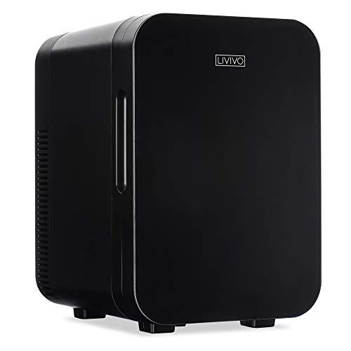 LIVIVO Mini-Kühlschrank-Kühlschrank mit Glastür, 10 l, 12 V Gleichstrom oder 240 V Wechselstrom, Dual-Eingang, geräuscharm, thermoelektrisch, perfekt für Schlafzimmer oder Lounge (schwarz)