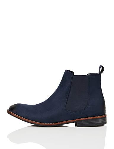 find. Classic Herren Chelsea-Boots in Wildleder-Optik, Blau (Navy), 43 EU