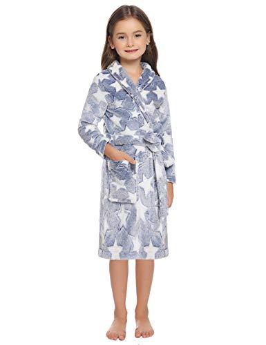 Hawiton Albornoz Ducha niño, Franela Bata de baño Infantil para niño,Pijamas de una Pieza para niño Invierno Algodon Calentar Ropa de Dormir,8 años,Azul