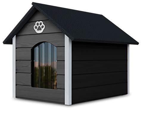 Novamat - Caseta para perros de madera - Casa acogedora y elegante para su perro con paredes aisladas - Resistente al agua - Tamaño XL (XL, marrón - blanco) (gris - blanco)