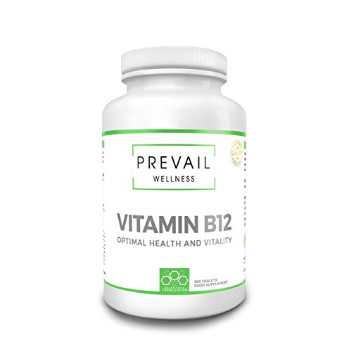 PREVAIL WELLNESS Vitamin B12 | Reduction of Tiredness and Fatigue | 100 Tablets | Suitable for Men and Women | Made in The U.K