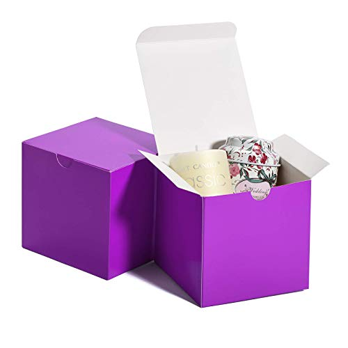 MESHA Kraft Boxes,Paper Gift Boxes with Lids for Gifts, Crafting, Cupcake Boxes,Boxes for Wrapping Gifts,Bridesmaid Proposal Boxes (Purple-50Pcs)