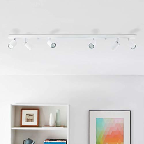 Lightbox Design Deckenleuchte 6 flammig, Spotbalken mit schwenkbaren Spots, 6 x GU10 Fassung für max. 35 Watt, Metall, Weiß