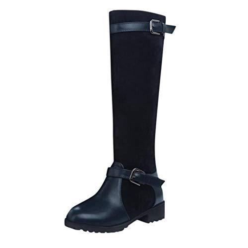TWIFER Botas Altas para Mujer Botas Altas de Invierno para Mujer Botas Altas de Invierno Moda Fiestas Oficina Zapatos Mujer Otoño y Invierno Comodos Azul 35-43