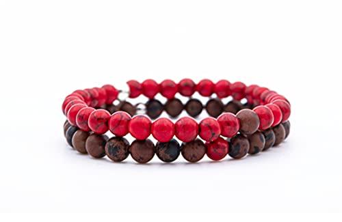Pulsera Piedra Natural Turquesa Roja Granate, Pulsera Elástica de Cuentas Preciosas Naturales 6mm, Pulsera Protección y Sanadora, Pulsera Hombre Mujer, Idea de Regalo Amuleto