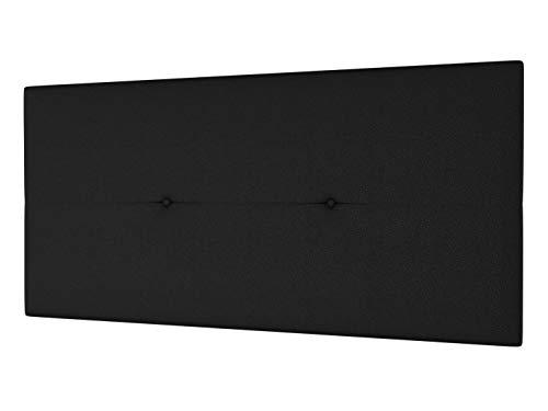 LA WEB DEL COLCHON - Cabecero Tapizado Génova para Cama de 105 (115 x 55 cms) Negro | Cama Juvenil | Cama Matrimonio | Cabezal Cama | Cabeceros tapizados Dormitorio