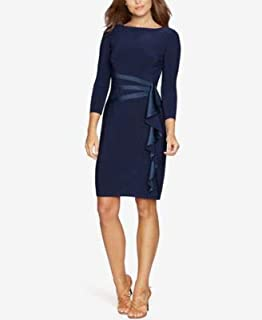 AMERICAN LIVING Womens Blue Ruffled 3/4 Sleeve Boat Neck Above The Knee Sheath Cocktail Dress US Size: 4