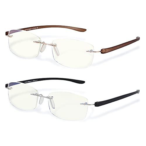 老眼鏡 リムレス ふちなし ツーポイント ブルーライトカット UVカット (ブラウン +2.50) 東レ トレシー クリーニングクロス セット