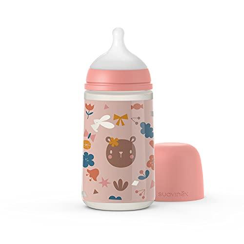 Suavinex 307082 Biberón de 270 ml con tetina Simmétrica Sx Pro Flujo Medio para Niños de +0, Rosa - 99 g