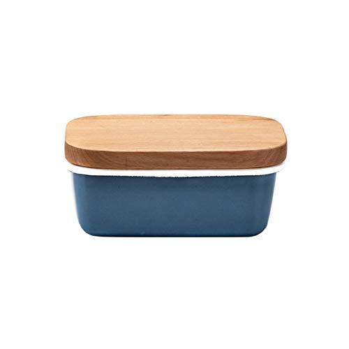 Plato de mantequilla de mantequilla, contenedor de mantequilla de esmalte con tapa de madera, mantequilla cuadrada plato plato de plato plato de cocina suministros de vajillas de mantequilla Jialele