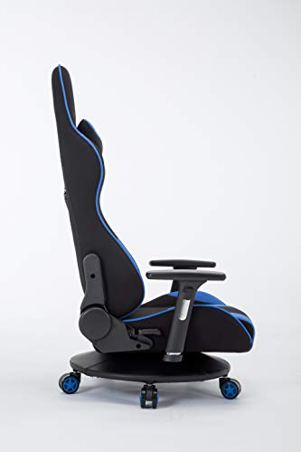 Esnatoゲーミングチェア座椅子180度リクライニングハイバック可動肘ヘッドレストクッション付き座椅子(ブルー)