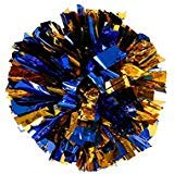 PUZINE 13' Metallic Foil & Plastic Ring Pom Poms Pack of 2 (100g) (Blue with Gold)