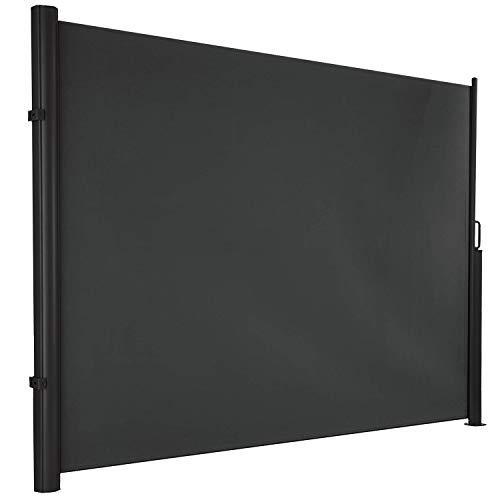 hausratplus ALU Seitenmarkise Seitenrollo osoltus Höhe 1.80m bis 3,50m Länge Windschutz extra lang Farbe: grau