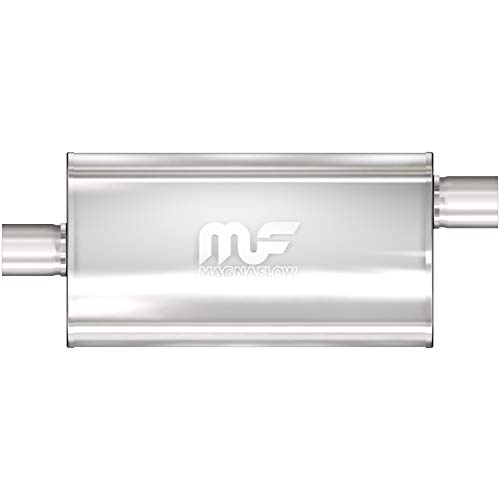 MagnaFlow 5in x 11in Oval Center/Offset Performance Muffler Exhaust 12589 - Straight-Through, 3in Inlet/3in Outlet Diameter, 28in Overall Length, Satin Finish - Classic Deep Exhaust Sound