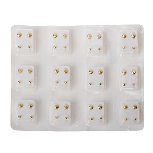 KERDEJAR Ear Piercing Earrings,12 Pairs Ear Piercing Gun Earring Disposable Set Hypoallergenic Ear Stud Jewelry Golden