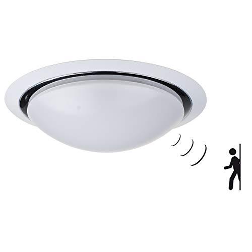 proventa® LED-Deckenleuchte mit HF-Bewegungsmelder rund | Chromring | warmweiß (3.000 K) | 35 cm | 15 Watt | 1.200 Lumen | Deckenlampe | Deckenstrahler | Schlafzimmerleuchte | Wohnzimmerleuchte