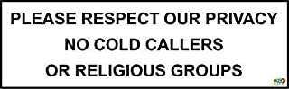 Please Respect Our Privacy No Cold Callers Sticker - 200Mm X 60Mm Safety Sign Stickers,Warning Stickers Lables,Self Adhesive Vinyl,