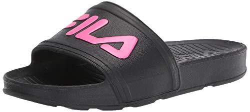 Fila Slide Sandale für Kinder, Schwarz (Schwarz/Knockout Pink/Knockout Pink), 32 EU