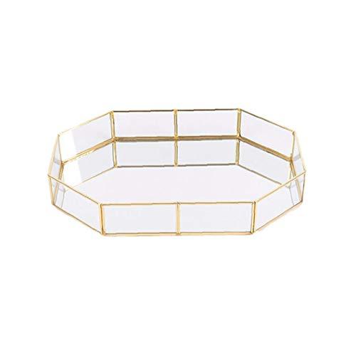 Deanyi Trompeta 1PC Decorativo de Cristal Bandeja Polígono bañados en Oro de joyería de la Vendimia del Plato de latón Bandeja de la Mesa de Centro de la Bandeja de Perfume 3.94'* 5.58' * 1.77