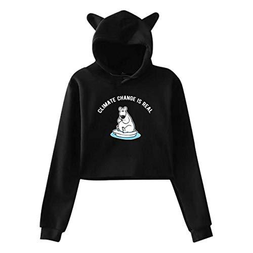 DJNGN Cat Ear Crop Top Pullover Hoodie,Sudadera con Capucha y Top Corto con Orejas de Gato para Mujer, Sudaderas con Capucha de Manga Larga con Estilo de Cambio climático, SXXL