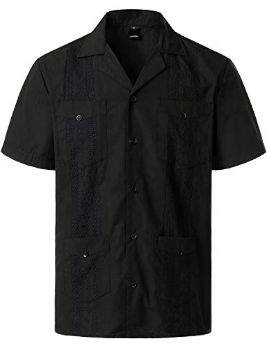 VATPAVE Mens Short Sleeve Button Down Cuban Guayabera Shirts 3X-Large Black