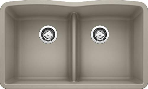 BLANCO, Truffle 442072 DIAMOND SILGRANIT 50/50 Double Bowl Undermount Kitchen Sink with Low Divide