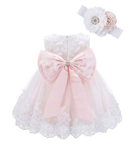 Bow Dream Baby Mädchenkleid Kleid Kopfband Schmetterling Blume Anwendung Blush Pink Schmetterling 6-12Monate