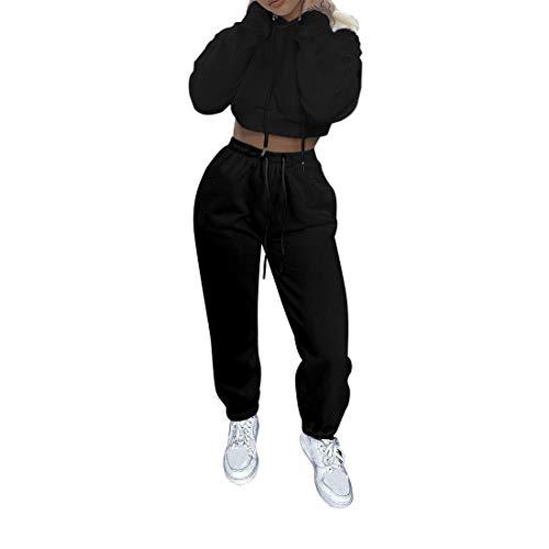 Vertvie Damen Sportanzug Jogginganzug aus Langarm Bauchfrei Hoodie und Lange Jogginghose 2 Stück Outfit Zweiteilige Freizeitanzug Loungewear Set